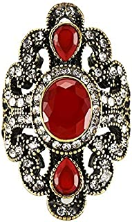 Rings Vintage Ethnic Style Exquisite Carved Inlaid Acrylic Resin Hollow Ring, Ring Size:10(Blue) Rings (Color : Red)