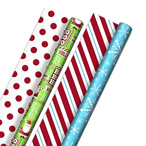 Hallmark Reversible Christmas Wrapping Paper for Kids - Bulk (2 Jumbo Rolls: 160 sq. ft. ttl) Santa, Snowflakes, Stripes, Red Dots