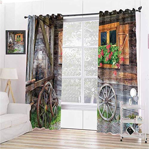 Cortinas opacas con ojales oscurecidas para ventanas antiguas con flores en maceta, ruedas de granja, vista frontal, 2 paneles de 108 x 84 pulgadas, color marrón, verde y rojo