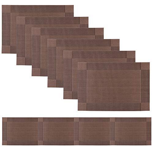 Famibay Family Tischläufer abwaschbar Vinyl rutschfest Platzsets 6 er Set mit Tischläufer für Küchentisch (Braun)