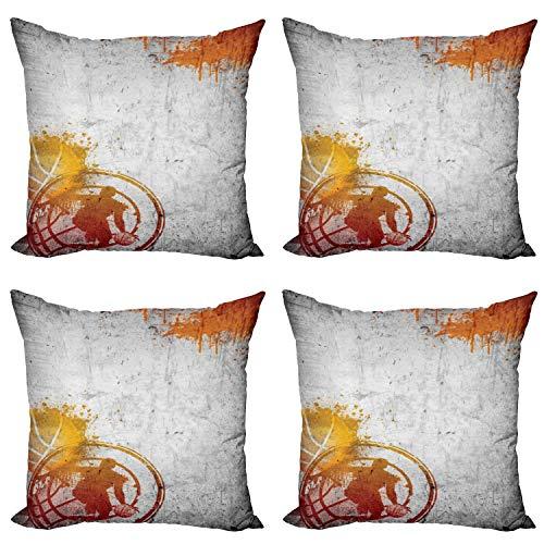ABAKUHAUS Gris Set de 4 Fundas para Cojín, La pasión Calle Deporte, Estampado Digital en Ambos Lados y Cremallera, 45 cm x 45 cm, carbón de leña de Orange