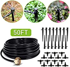 HIRALIY 50ft Drip Irrigation Kit Plant Watering System 8x5mm Blank Distribution Tubing DIY Automatic Irrigation Equipment Set for Garden Greenhouse Flower Bed Patio Lawn