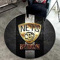 ネットバスケットボールチームのロゴラウンドカーペット敷物、コンピュータチェアマット、クリエイティブソファフロアマットベッドサイドコーヒーテーブルベッドルームドアマット 120*120