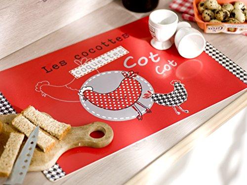 Calitex S7Y4519X71A Coquettes 6 Set de Tables PVC Rouge 44 x 28 cm