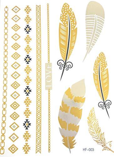 Strass ET Paillettes - 10 Tatouages éphémères métallique Waterproof Bracelet Love Plume -Tatoo temporaire Or - Bijou de Peau