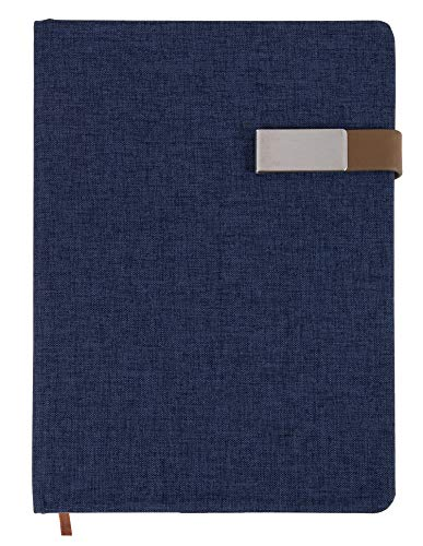 A5 Journal Notebook - Fabric Cover Notebook with Magnetic Clasp Closure for Diary, Business Professional, Office, 192 Pages, Navy Blue Hard Cover, Lined Paper, 5.7 x 8.5 Inches