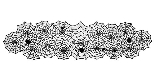 DII 18x72 Polyester Lace Table Runner, Black Spider Web - Perfect for Halloween, Dinner Parties and Scary Movie Nights
