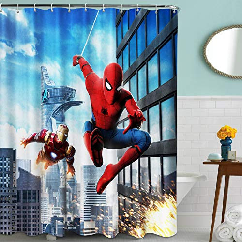 Spiderman and Ironman Fabric Shower Curtain Set with Hooks for Boys Bathroom