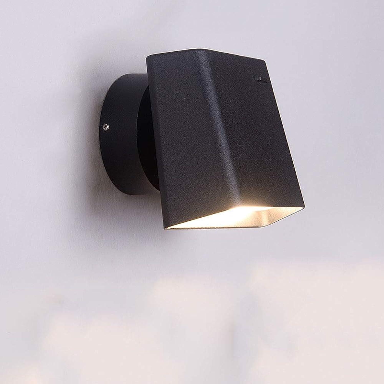 BAIF Wandleuchte Schlafzimmer Nachttischlampe 180 Grad Wandleuchte Wohnzimmer Gang Dekoration Einfache Moderne Nordic Treppenhaus Korridor Wand Lesen Hotel Mit Schalter (Farbe  Schwarz)