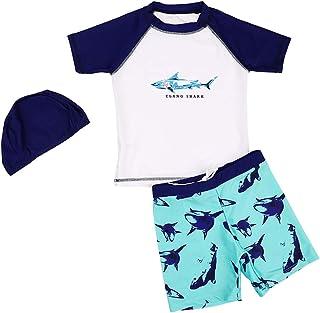 ثوب سباحة للأولاد من Digirlsor بأكمام قصيرة وسروال سباحة مع قميص + قبعة سباحة، 2-10Y