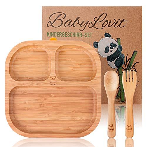 Umweltfreundlicher Kinder & Baby Teller aus Bambus | Mit rutschfestem Saugnapf inkl. Löffel, Gabel & Geschenkbox | Frei von jeglichen Schadstoffen