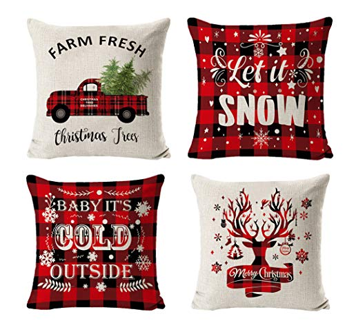 JIMMY Christmas Pillow Covers 18x18 Inches Christmas Decorations Black and Red Throw Pillowcase Holiday Rustic Linen Pillow Case for Sofa Couch Christmas Decorations Throw Pillow Covers (Red-A)