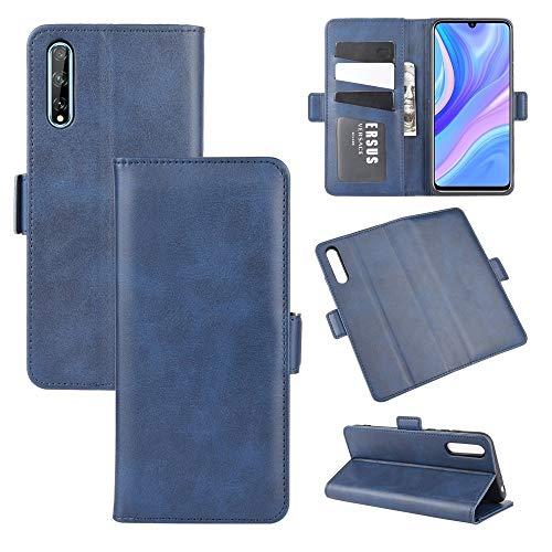45532rr Telefonkasten for Huawei Y8p / Genießen 10s Dual-Side Magnetic Buckle Horizontal-Schlag-Leder-Kasten mit Halter & Card Slots & Wallet (Color : Dark Blue)