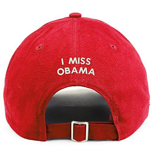 Trendy Apparel Shop I Miss Obama (Back) Embroidered 100% Cotton Dad Hat - Red