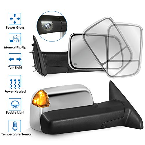 MOSTPLUS Power Heated Towing Mirrors Compatible for 2009-2018 Ram 1500 2500 3500 Pickup Led Signal Puddle Lights Pair W/ Ambient Temperature Sensor (Chrome)