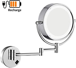 DOWRY Wall Mounted LED Lighted Vanity Makeup Mirror with 10x Magnification,Double-Sided, On/Off Button Chrome Finish and 8 Inch 360 Swivel Recharge Batteries Included