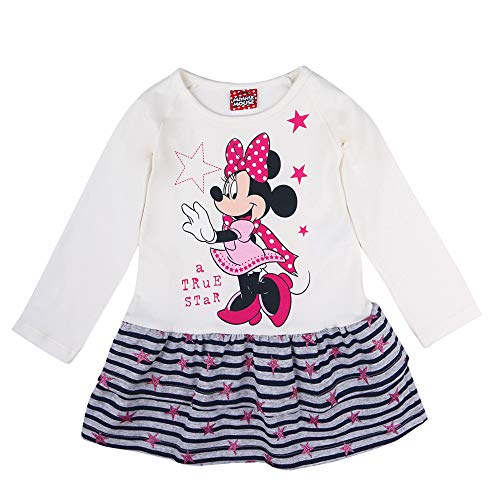 Disney niñas Minnie Mouse Vestido, Blanco, Talla 80, 12 Meses