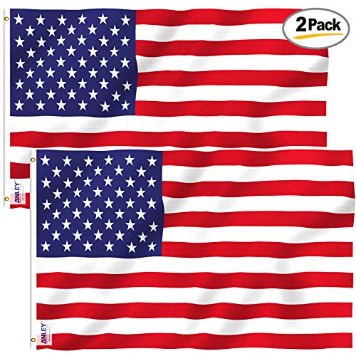 Anley Pack of 2 Fly Breeze 3x5 Foot American US Polyester Flag - Vivid Color and UV Fade Resistant - Canvas Header and Double Stitched - USA Flags with Brass Grommets 3 X 5 Ft