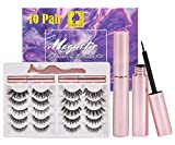 10 Pairs Reusable Magnetic Eyelashes and 3 Tubes of Magnetic Eyeliner Kit, Upgraded 3D 5D Natural Look Magnetic Fake Lashes and Liner Set - No Glue Need