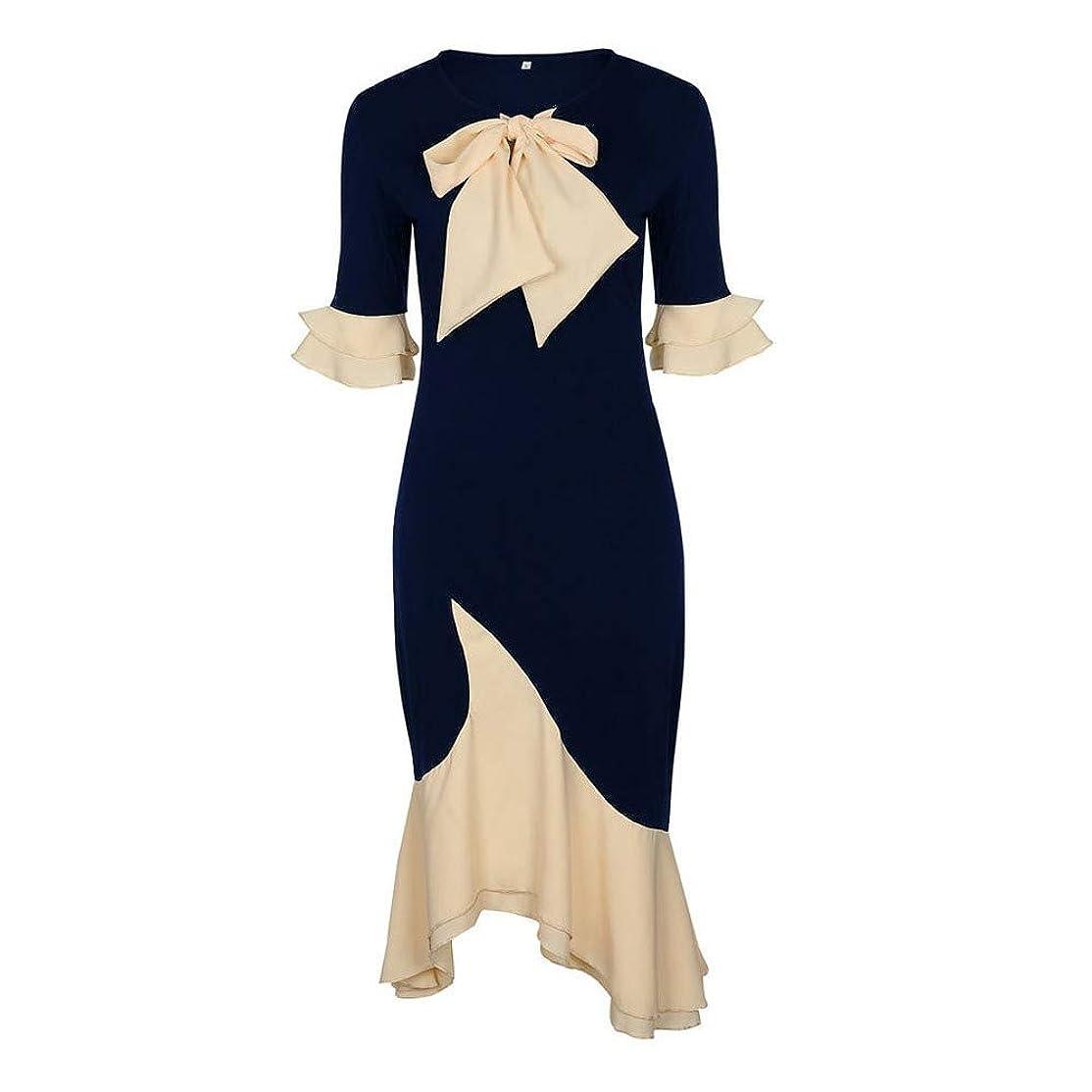 ホップ曲線どうしたのOnderroa - ヴィンテージエレガントなオフィスレディーの女性のドレスマーメイドフレアスリーブボウカラーファルバラの女の子セクシーな女性レトロなパーティードレス