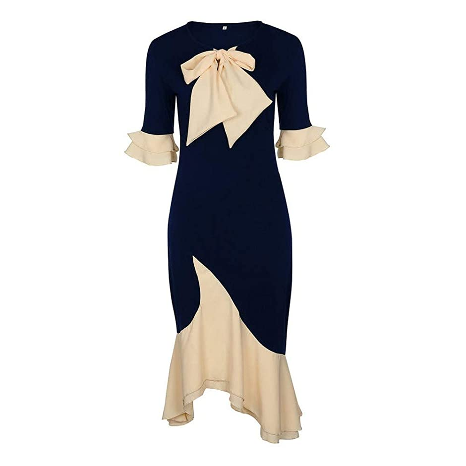 コンペゴシップエンジニアリングOnderroa - ヴィンテージエレガントなオフィスレディーの女性のドレスマーメイドフレアスリーブボウカラーファルバラの女の子セクシーな女性レトロなパーティードレス