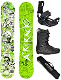 AIRTRACKS Snowboard Set - Tabla Dreamcatcher Neon Wide (Hombre) 155 - Fijaciones Master - Softboots Strong 44 - SB Bag