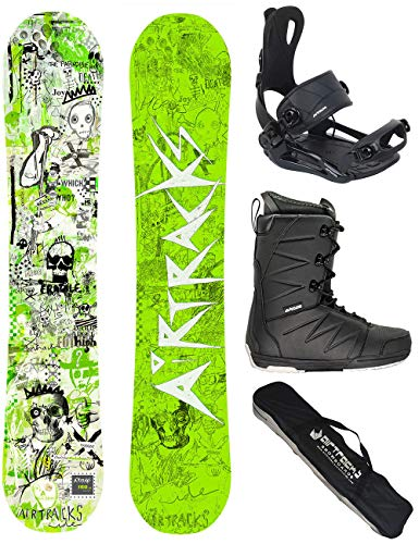 Airtracks Snowboard Set - Board Dreamcatcher NEON 150 - Softbindung Master - Softboots Star Black 42 - SB Bag