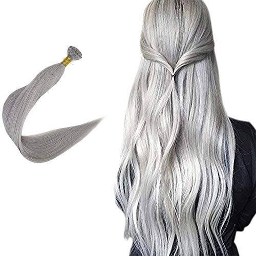 Easyouth Hair Bundles für Woemn Sew in Extension 22 Zoll Farbe #Silver 50g/Packung 100% Echthaar
