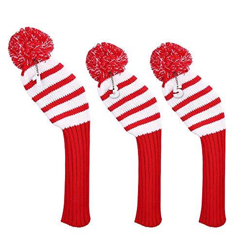 Zjcpow Schlägerkopfhüllen für Eisen Dreiteilige Golfschläger-Set Holzschläger-Set Golf Strickschläger-Set Golf Hybrid-Club Kopfhauben (Color : Red, Size : One Size)