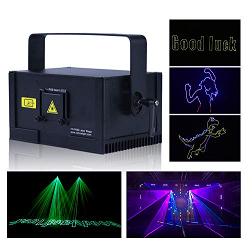 V-Show DMX Stage Laser Lights 1W RGB Animation DJ Bar Beam Stage Lighting Effect Laser Projector illumination Show Light Sound Activated for Festival Bar Club Party