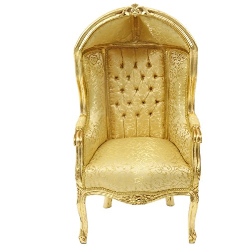 Casa Padrino Barock Kinder Thron Sessel Gold Muster/Gold - Ballon Sessel Barock Möbel