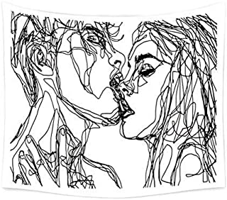 TSDA Youth Vigor Abstract Sketch Art Kiss Lovers Tapestry are Very Ideal for Wall Decoration in Men or Women Rooms 59