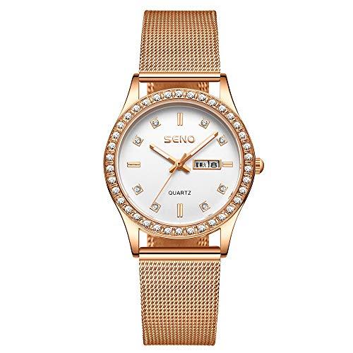 YIBOKANG Temperamento De Moda De Mujer Simple Water Diamond Night Light Doble Calendario Impermeable Cuarzo Reloj Creativo Casual Regalo Moda Reloj De Moda (Color : Oro)