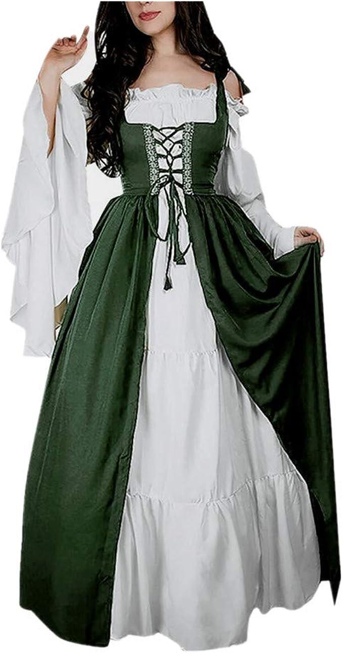 Salucia Damen Mittelalter Kleid Trompetenarmel Bodenlange Vintage Kostum Viktorianisches Renaissance Gothic Prinzessin Lange Kleider Fur Festliche Karneval Fasching Cosplay Party Grosse Grossen Amazon De Spielzeug