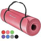 REEHUT Tappetino 12mm Yoga Pilates Fitness Allenamento Gomma NBR Espansa Alta Densità con Cinturino - Rosa