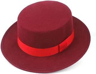Hat Size 56-58CM Men Women Flat Top Fedora Hat With Red Ribbon Wool Trilby Jazz Hat Church Hat Fashion Hat