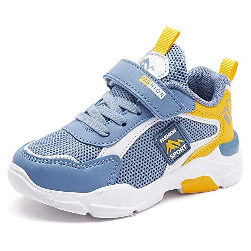 Mitudidi Kinderschuhe 34 Turnschuhe Kinder Schuhe Hallenschuhe Laufschuhe Sportschuhe Hallen Tennis Basketball Schuhe Kinder für Unisex-Kinder Gray Blue