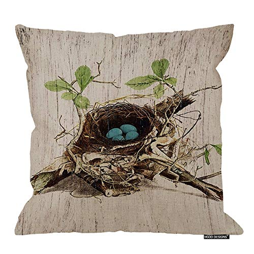 HGOD DESIGNS Vintage Finch Bird Nest with Blue Eggs Throw Pillow Case Cushion Cover 18X18 Inch Cotton Linen Pillowcase