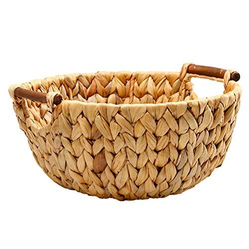 Cesta redonda de mimbre para frutas de estilo simple para decoración del hogar, cesta de almacenamiento multifuncional, aperitivos, mando a distancia y almacenamiento de objetos pequeños
