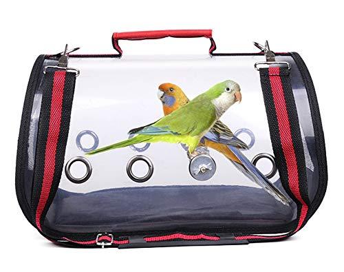 HMMJ Haustier-Vogel Träger mit Holzständern, beweglichen Haustier-Vogel-Papageien-Träger Transparent Breathable Travel Cage, Leichte Vogel Rucksack for Haustier-Vogel (Color : Red, Size : L)