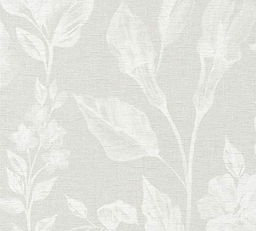 A.S. Création Vliestapete Linen Style Tapete mit Blätter Muster 10,05 m x 0,53 m beige grau weiß Made in Germany 366363 36636-3