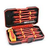 Dcolor Juego de 13 destornilladores aislados Vde Cr-V de alta tensión, 1000 V, magnéticos, Phillips, punta torx, destornillador duradero, herramientas de mano