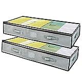 vacwel 2 pezzi contenitore sottoletto pieghevole,traspirante scatole per armadio con manico per trapunte, coperte, vestiti di archiviazione sacchetto,100 x50 x18 cm 85l