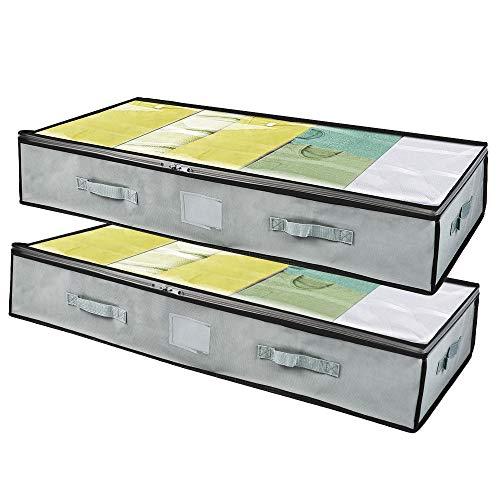 Vacwel Cajas Almacenaje Ropa 2 Pcs, Bolsa de Almacenamiento Debajo de la Cama Tejido de Gran Capacidad, de Edredones, Manta, Ropa,con Cremallera y 4 Asas, Plegable