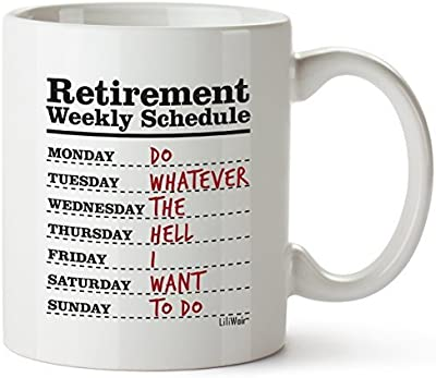 Funny Retirement Gifts for Women Men Dad Mom. Retirement Coffee Mug Gift. Retired Schedule Calendar Mugs for Coworkers Office & Family. Unique Novelty Ideas for Her Nurses Navy Air Force Military Gag [並行輸入品]