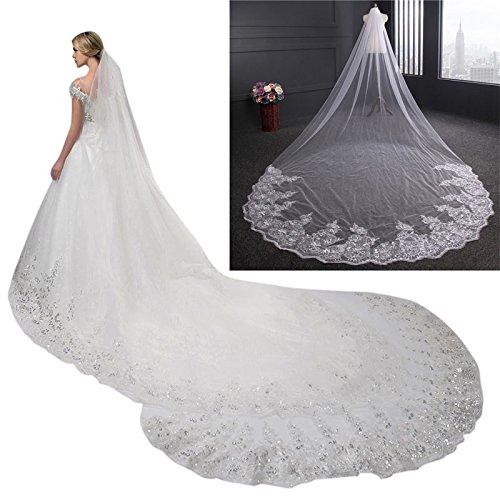 ZREAL 4 M boda novia gasa con peine una capa lentejuelas borde de encaje largo mantilla