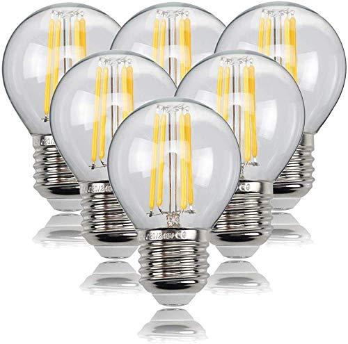 LED E27 Lampe, 4W Led Edison glühbirnen G45 Leuchtmittel 470 Lumen, ersetzt 40W Glühfadenlampe, 2700K Warmweiß Glühbirne E27, 6 Stück