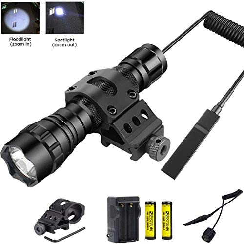 BESTSUN Tactical LED Flashlight, Zoomable Super Bright 1500 Lumens Waterproof Hunting Light Torch with Pressure Switch, Rail Rifle Offset Mount Picatinny AR, Spare 18650 Rechargeable Battery, Charger