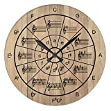 Pattebom Wall Clocks Decorative for Living Room Circle of Fifths Brown Color Wood Wall Clocks Decorative Living Room Battery Operated Non Ticking 12 Inches Birthday Christmas