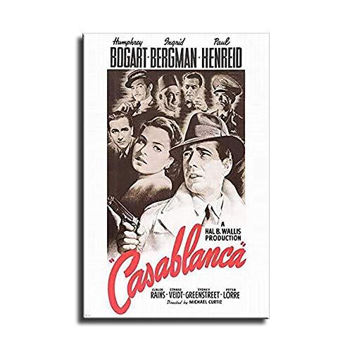 Póster de la película Casablanca en lienzo y arte de la pared, impresión moderna para la decoración de la habitación familiar, Sin marco, 16x22inch